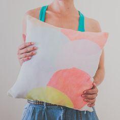 Pillow Cover, Throw Pillow, Colour Block, Watercolour Circles, Nursery Room Pillow, 16x16 Pillow Decorative, Home Decor, #homedecor, #throwpillow #pillow, #nurserydecor, #watercolor