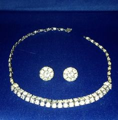 Vintage Signed Bogoff Rhinestone Necklace Screwback Earrings Set Rhodium Plated