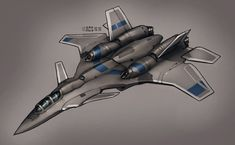 Black jet fighter with blue detailing.