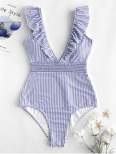 chic ZAFUL Ruffle Shirred Stripe Swimsuit - LIGHT SKY BLUE S swim wear onepiece fashion 2020 trends plus size tankini vintage One Piece Swimwear, Bikini Swimwear, One Piece Swimsuit, Sauvage Swimwear, Retro Swimwear, Summer Swimwear, Cute Swimsuits, Women Swimsuits, Plus Size Lingerie