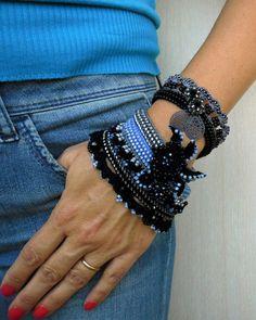 CHRISTMAS SALE, Cuff Bracelet, Blue - Black Bracelet Cuff, Handmade Bracelet, Beaded Bracelet Cuff, Crochet Jewelry, Freeform Crochet