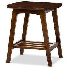 Sacramento Mid-century Modern Scandinavian Style End Table - Dark Walnut - Baxton Studio : Target