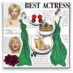 Oscar Red Carpet: Go Glam! by shica-du on Polyvore featuring Sergio Rossi, Oscar de la Renta, Irene Neuwirth, Vera Wang and Peter Som