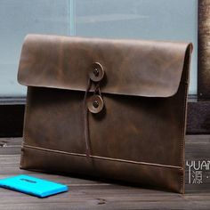 Image of Business Men's Handmade Vintage 100% Genuine Leather Envelope Clutch Bag in Coffee--FREE SHIPPING