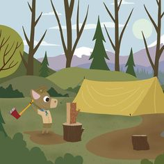 Whimsical Storybook Artwork of a small troop of Scouts exploring the great out doors - Chopping Wood  #kidsroomart #kidsart #kidsroom #whimsicalart #adventure #kidsroomwallart #wallart #storybook #kidsbookart #childrensbookart