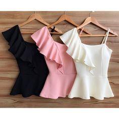 Summer. Blusas. Black. Pink. White