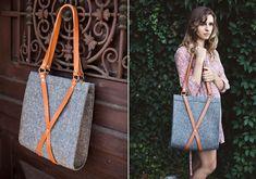 mosse designs wool + leather bag