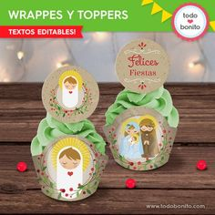 Niño Jesús: wrappers y toppers - Todo Bonito Porta Cupcake, Christmas Ornaments, Holiday Decor, Desserts, Food, Guys Birthday Parties, Happy Holi, Fairy Cakes, Candy Stations
