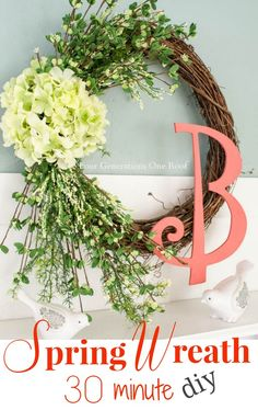 How to make a spring hydrangea wreath in 30 minutes. Quick and easy way to introduce spring to your home. #spring #craft Four Generations One Roof