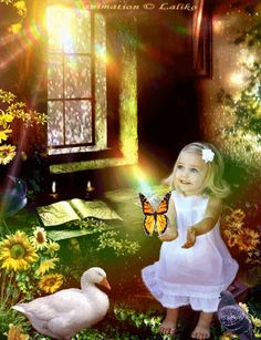 Heavenly girl with butterfly. Click the graphic to see the effect.