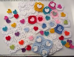 US Terms PDF Pattern ONLY, Basic Heart and Little Heart of Love-Squares A and B, by BlueSkyOverTheClouds