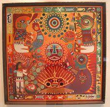 Yarn painting at the Museo de Arte Popular in Mexico City Mexican Artwork, Mexican Folk Art, Huichol Art, Kunst Der Aborigines, Art Tribal, Yarn Painting, Mexican Textiles, Popular Art, Indigenous Art