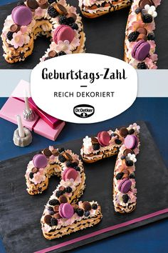 Süße Geburtstags-Zahl Sweet birthday number: Baked number cake filled with mascarpone cream for a birthday or anniversary Birthday Chocolate Chip Cookies, Chocolate Brownies, Easy Cake Recipes, Baby Food Recipes, Dessert Recipes, Donut Recipes, Colorful Birthday, Number Cakes, Pin On