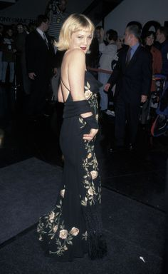 The time she looked flawless in every late '90s girl's dream prom dress: | 21 Times Drew Barrymore Killed The Whole Fashion Thing In The '90s