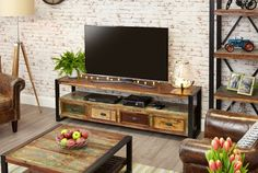 buy baumhaus urban chic reclaimed wood 4 drawer open widescreen television cabinet online by baumhaus furniture from cfs uk at unbeatable price