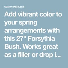 Add vibrant color to your spring arrangements with this Forsythia Bush. Works great as a filler or drop in to a vase for a simple focal piece. Forsythia Bush, Coastal Decor, Vibrant Colors, Drop, Vase, Yellow, Spring, Simple, Vivid Colors