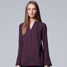 Petite Simply Vera Vera Wang Chiffon Popover Top, Women's, Size: XL Petite, Purple
