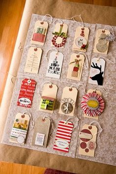 Awesome new tradition. Last year's Christmas cards? This year's gift tags!
