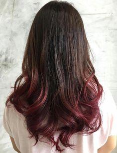 Dark Brown Hair With Burgundy Dip Dye