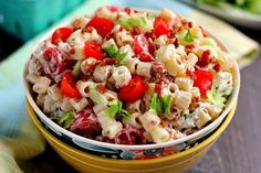 BLT Ranch Pasta Salad Recipe Salads with greek style plain yogurt, mayonnaise, ranch dressing, pasta, cherry tomatoes, bacon, romaine lettuce, salt, pepper