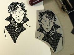 Benedict Cumberbatch portrait as Sherlock. Linocut illustration by Nick Morley