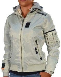 b4ba56db551b Superdry Women s Double Zipper Removable Hood Jacket-Light Khaki-Medium