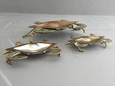 Brass and Abalone Crab Family Dish Sculpture Attributed to Los Castillos | From a unique collection of antique and modern sculptures at https://www.1stdibs.com/furniture/decorative-objects/sculptures/
