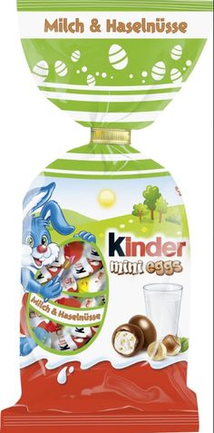 """Ferrero Kinder mini eggs - Milk & Hazelnut"" are milk chocolate eggs filled with milk and fine chopped hazelnut pieces. Milka Chocolate, Easter Chocolate, Easter Candy, Easter Eggs, Mini Eggs, All Brands, Mixed Drinks, Oreo, Perfume Bottles"