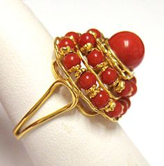 Estate Vintage Antique 14k Yellow Gold Red Coral Bead Fashion Ring | eBay