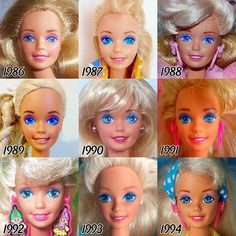 Barbie is arguably the most iconic doll of all time and she's had a lot of different looks over the years. See how much she's changed since Barbie is arguably the most iconic doll of all time Barbie Vintage, Vintage Dolls, Vintage Stuff, Mattel Barbie, Barbies Dolls, Barbie Costumes, 1980s Barbie, Bad Barbie, Barbie Outfits
