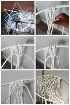 I've always wanted a real hammock, but if that's not an option, this DIY macrame hanging chair is the next best thing! So stylish and… Macrame Hanging Chair, Macrame Chairs, Macrame Art, Macrame Projects, Diy Hammock, Hammock Chair, Swinging Chair, Diy Chair, Hammocks