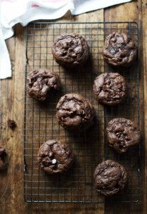 Thick and Fudgy Double Chocolate Cookies - so rich and decadent, like a brownie, chocolate cake, and a big soft cookie all in one. | pinchofyum.com