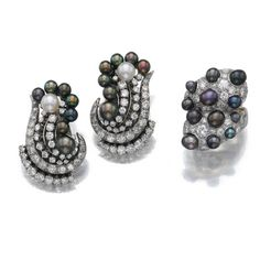 Belperron Pearl Earrings  Ring Set.Natural and cultured pearls. Circa 1960.