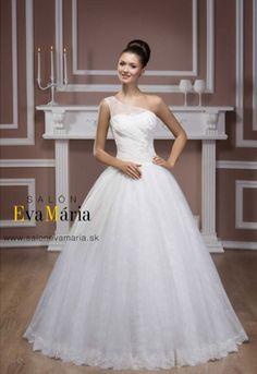 c99b8565de47 Svadobné šaty s jedným ramienkom a so širokou sukňou Wedding Dress Hire