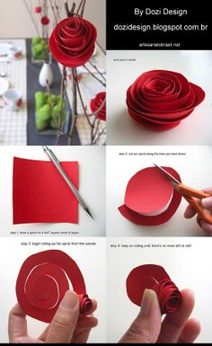 diy paper flowers by wendy Paper Flowers Diy, Flower Crafts, Fabric Flowers, Diy Arts And Crafts, Crafts For Kids, Paper Crafts, Valentine Day Crafts, Valentine Decorations, Beauty And The Beast Party
