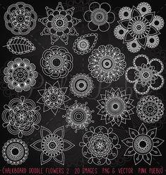 Pizarra Doodle flores Clipart Clip Art 2, tiza Doodle Mandala Clip Art Clipart vectores - uso comercial y Personal