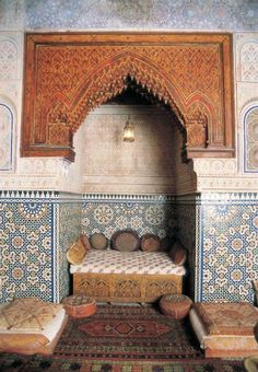 Dar al-Jam'i Hegira / AD Alawid Meknès, Morocco. Built by viziers close to Sultan Hasan I. Given to the State at the beginning of the century used as a military hospital by the Protectorate before being conv Moroccan Design, Moroccan Decor, Moroccan Style, Islamic Architecture, Art And Architecture, Architecture Details, Interior Garden, Interior And Exterior, Interior Design