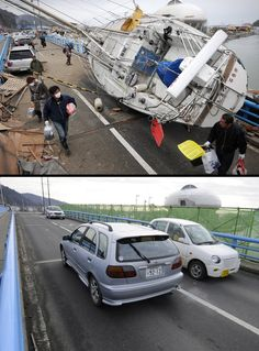 Japan's Tsunami happened on March 11, 2011 and the same location a year later.