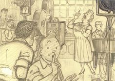 'The Adventures of Tintin: The Castafiore Emerald' by Hergé • original pencil drawings • Tintin, Herge j'aime