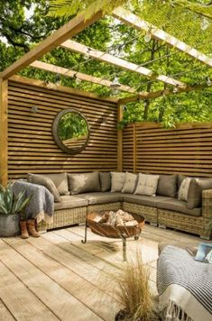 Large patio area with a garland illuminated pergola area and ratta . - Large patio area with a garland illuminated pergola area and rattan corner sofa - Backyard Seating, Backyard Patio Designs, Pergola Patio, Pergola Ideas, Backyard Ideas, Landscaping Ideas, Cozy Backyard, Backyard Privacy, Backyard Gazebo