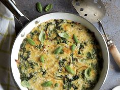 Go ahead and use the tender chard stems; just dice them and cook with the leaves. Serve with a simple side salad for a lovely low-calorie dinner.   View Recipe: Swiss Chard and Onion Frittata Easy Frittata Recipe, Frittata Recipes, Frittata Muffins, Swiss Chard Recipes, Low Calorie Dinners, Egg Recipes, Brunch Recipes, Breakfast Recipes, Recipe Finder