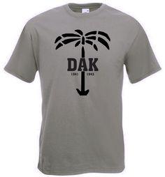 T-Shirt DAK. T-Shirt deutsches Afrika Korps mit Palme in der Farbe oliv / mehr Infos auf: www.Guntia-Militaria-Shop.de