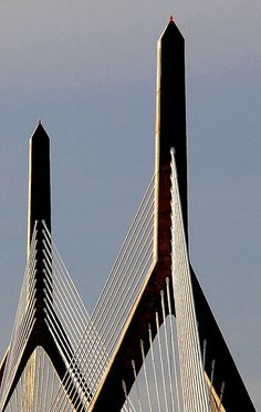 the leonard p. zakim bunker hill memorial bridge in boston, massachusetts    ...