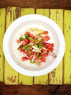Jamie's deliciously summer watermelon salad is super refreshing and will transport you to LA with its crisp textures and bright flavours of mint and chilli.