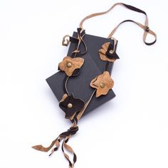 Leather+necklace+Bronze+from+AB+art+by+DaWanda.com