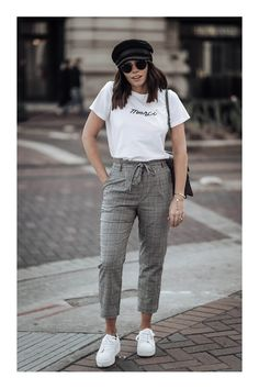Check print Merci Beaucoup tee Check pants Topshop similar here Cap Superga Platform sneakers Gucci Dionysus Casual Summer Outfits, Simple Outfits, Fall Outfits, Cute Outfits, Formal Outfits, Trouser Outfits, Sneakers Fashion Outfits, Sneakers Outfit Summer, Gucci Sneakers Outfit