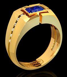 Bague pour hommes - Mousson - or jaune, 0.98ct saphir et diamants.