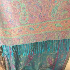 Paisley blue scarf/shawl Paisley Blue scarf (pashmina type) shawl never been worn. NWOT Purchased in Italy. Accessories Scarves & Wraps