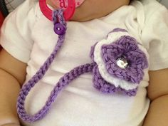 Pacifier holder with flower clip by LalasBabyBoutique on Etsy, $8.00