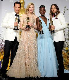 Ganadores: Mateo ganó como Mejor Actor, Mejor Actriz Cate Blanchett, Lupita Nyong'o Actriz de Reparto y Jared Leto actor de reparto